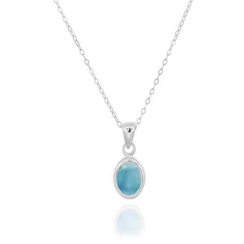 NP12337-LAR - Classic Oval Silver Pendant with a Larimar  Piece
