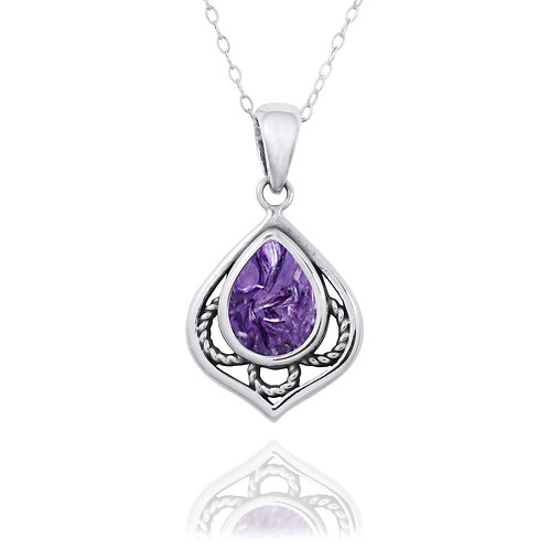NP12218-CHR -  Elegant Silver Pendant with a Pear Shape Charoite Piece