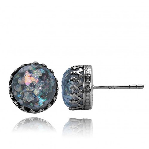 KES12-RG - classic high crown stud earings with Roman Glass