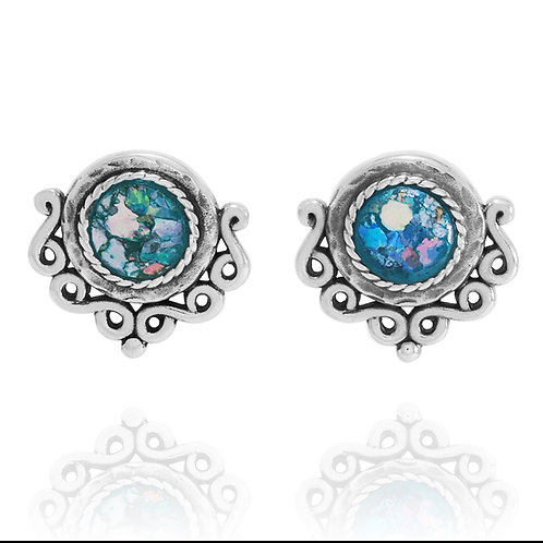 NES3529-RG - Elegant Roman Glass Stud Earrings