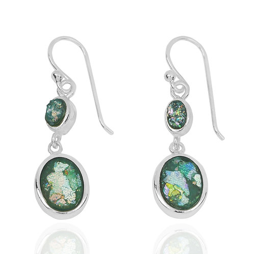 NEA3718-RG - Classic Dangling Roman Glass Earnings