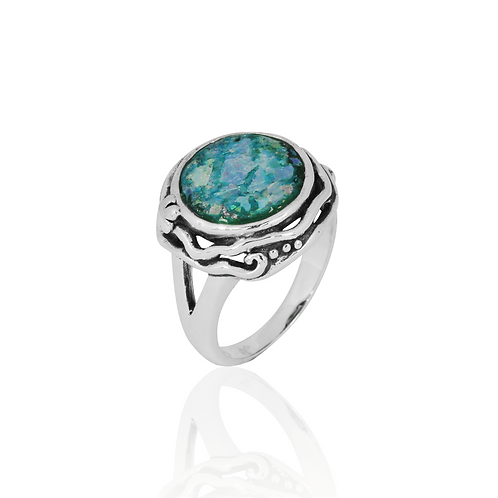 NRB8801-RG -  Round Shape Roman Glass Contemporary Ring