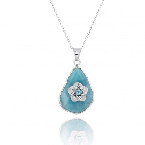 [NP11320-LAR-SWBLT] Larimar Pendant with Sterling Silver Hibiscus Flower and Swi