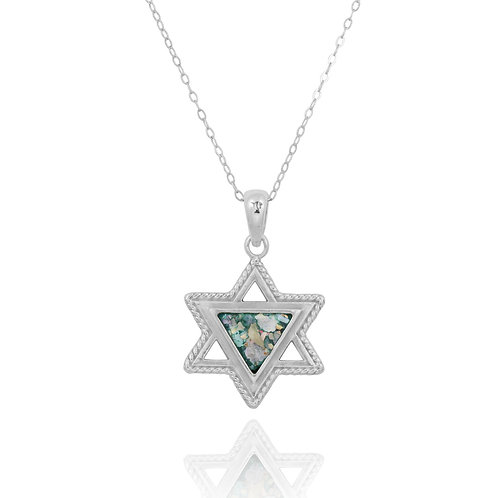 NP11855-RG - Classic Star of David design with Roman Glass Triangle Piece