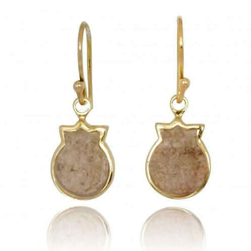 [NEA3845-JRSL-14K] 14K Gold Pomegranate Drop Earrings with Jerusalem Stone