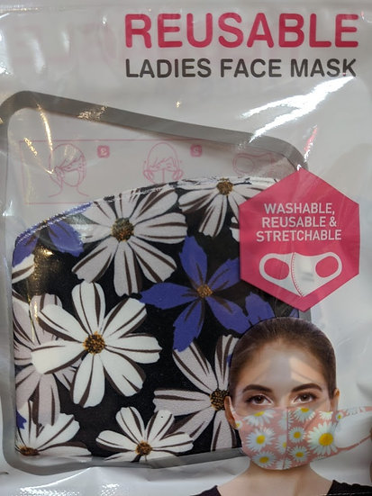 Ladies Reusable Face Mask - Purple & White Flowers