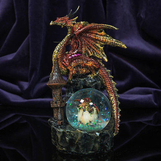 Red & Gold Dragon Figurine with Glitter Ball