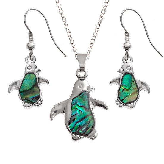 Paua Shell Penguin Pendant & Earring Set