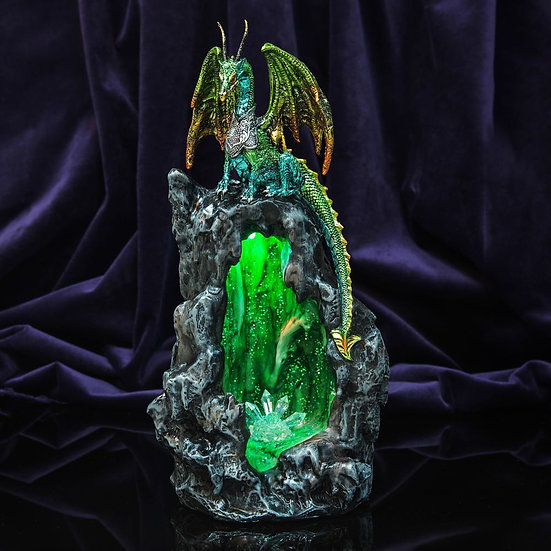 Green Dragon Figurine with LED Lights