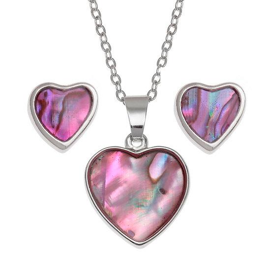 Pink Paua Shell Heart Pendant & Earring Set