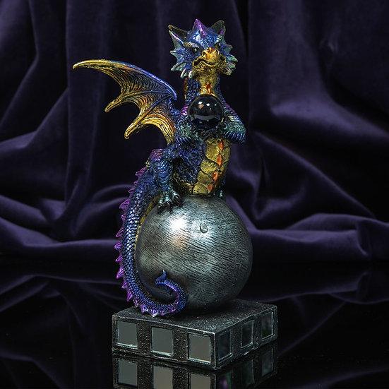 Blue Dragon Figurine with Blue Glass Orb