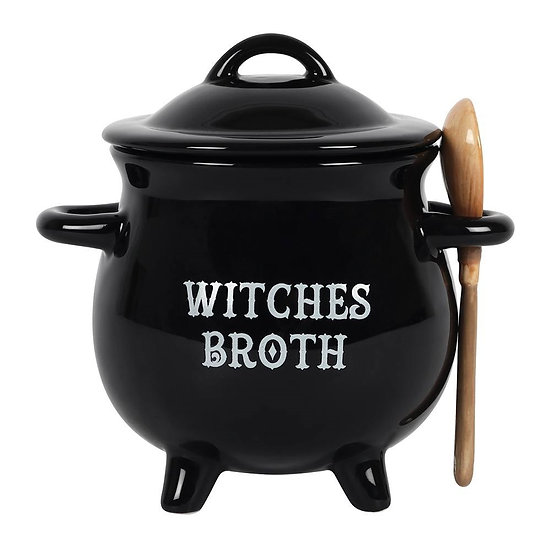 Witches Broth Cauldron Soup Both with Broom Spoon
