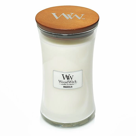 WoodWick Magnolia Large Hourglass Candle with Pluswick