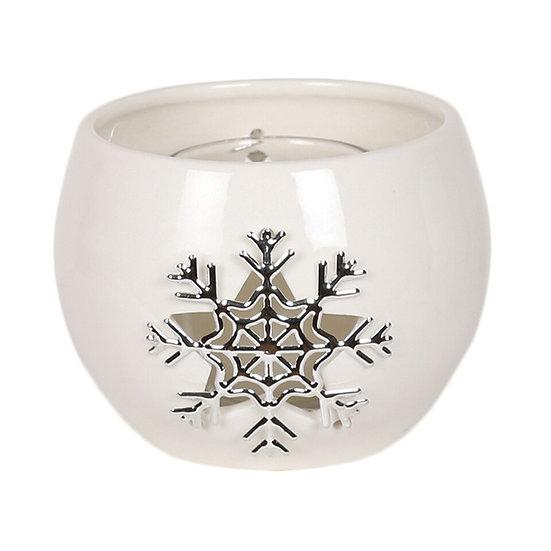 Snowflake Round Tealight Holder 8cm