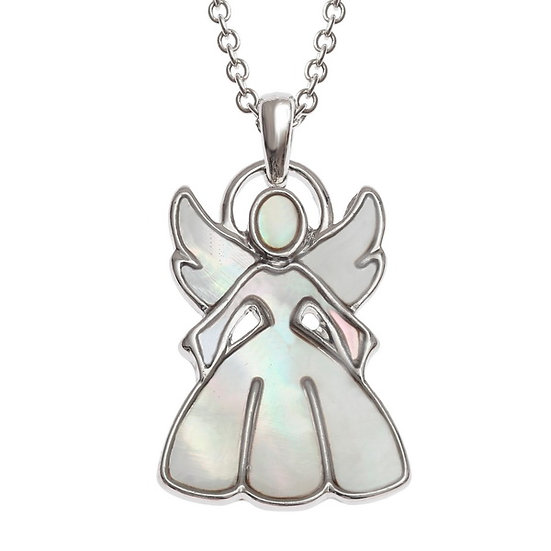 Mother of Pearl Shell Christmas/Guardian Angel Pendant
