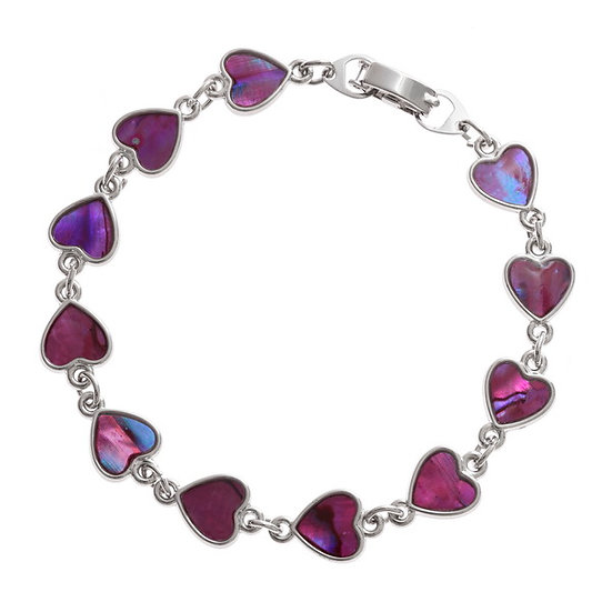Pink Paua Shell Heart Bracelet - Tide Jewellery