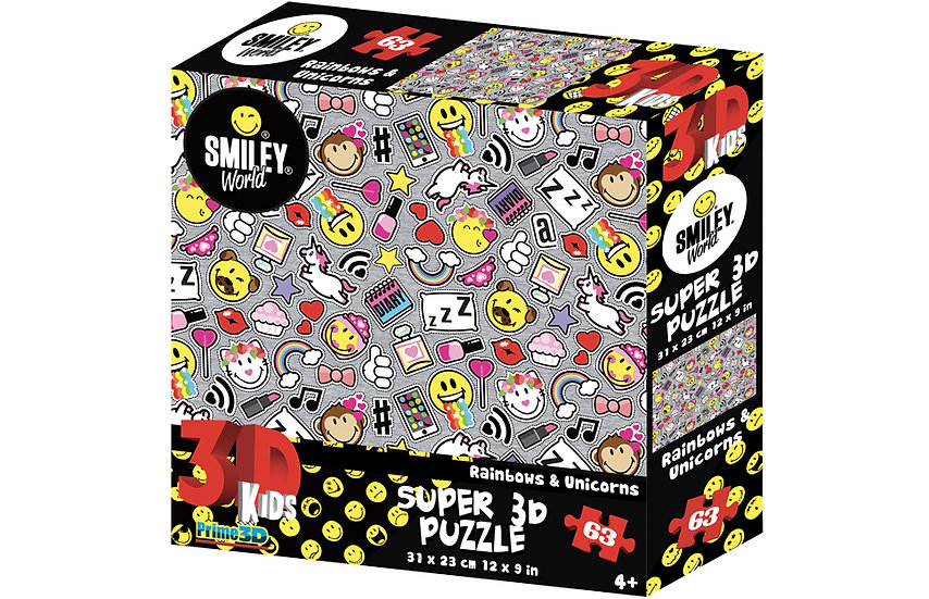Rainbows & Unicorns 3D Jigsaw Puzzle (63 pieces)