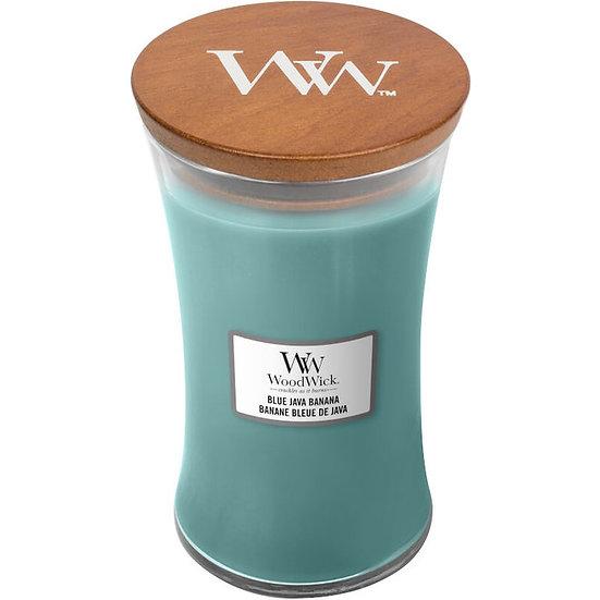 WoodWick Blue Java Banana Large Hourglass Candle with Pluswick