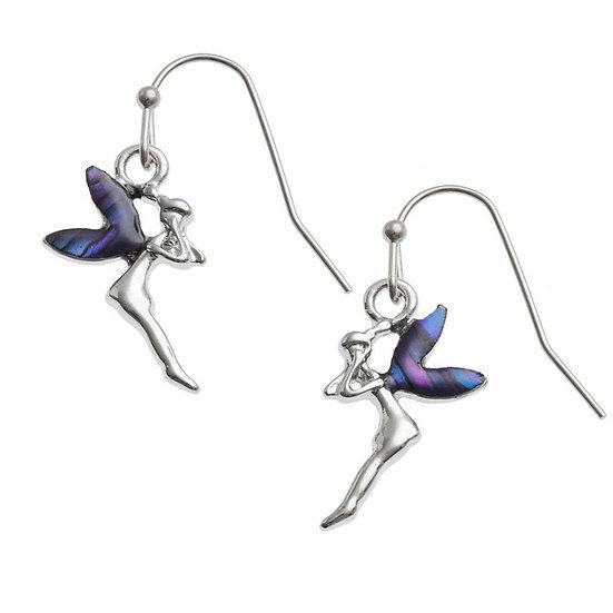 Purple Paua Shell Fairy Earrings