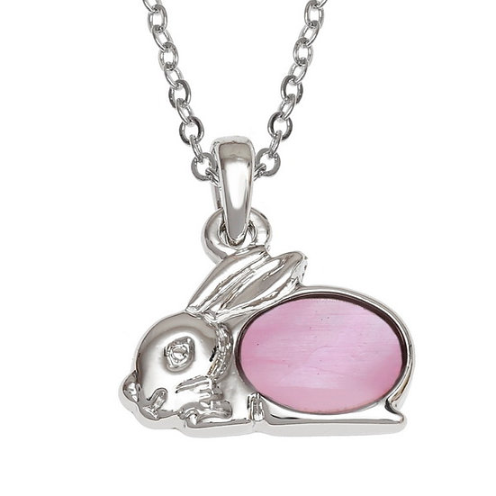 Pink Mother of Pearl Shell Rabbit Pendant