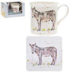 Country Life Donkey Mug & Coaster Set