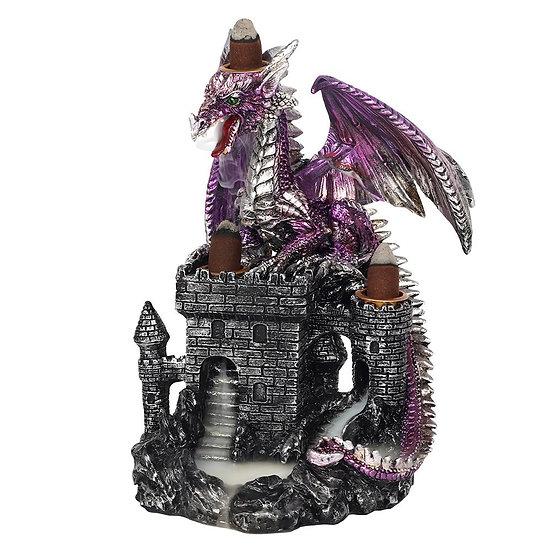 Purple Dragon on Castle Backflow Incense Burner