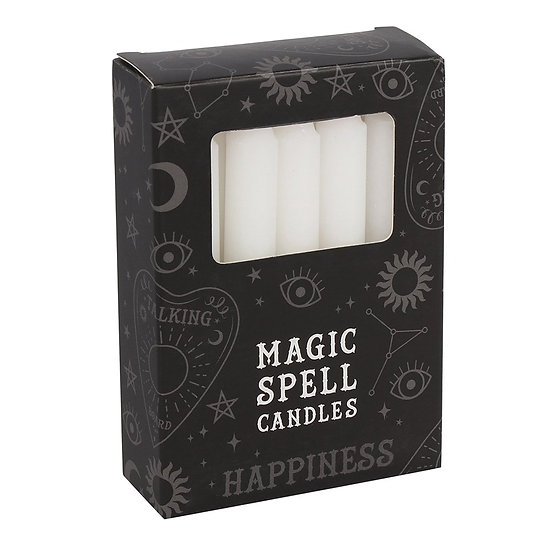 White Happiness Spell Candles Pack of 12