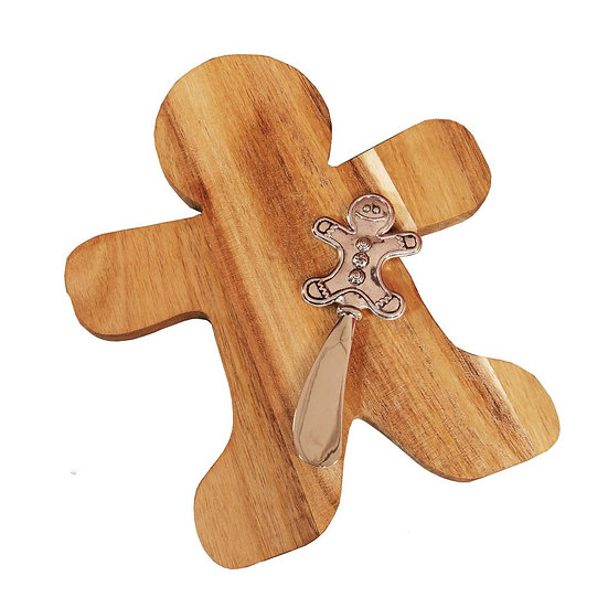 Acacia Wood Gingerbread Man Cheeseboard & Knife