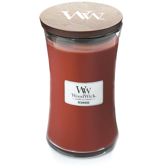 WoodWick Redwood Large Hourglass Candle with Pluswick