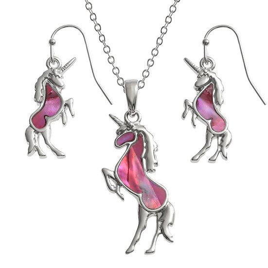 Pink Paua Shell Unicorn Pendant & Earring Set