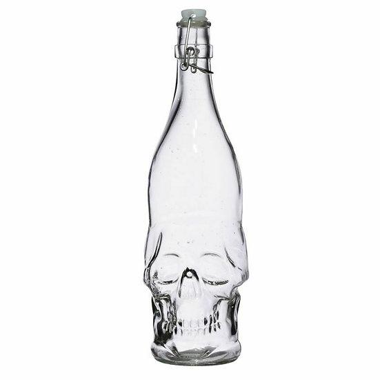 Skulls & Roses Glass Bottle