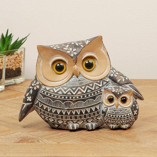 African Style Ornate Owl & Owlet Figurine 11cm