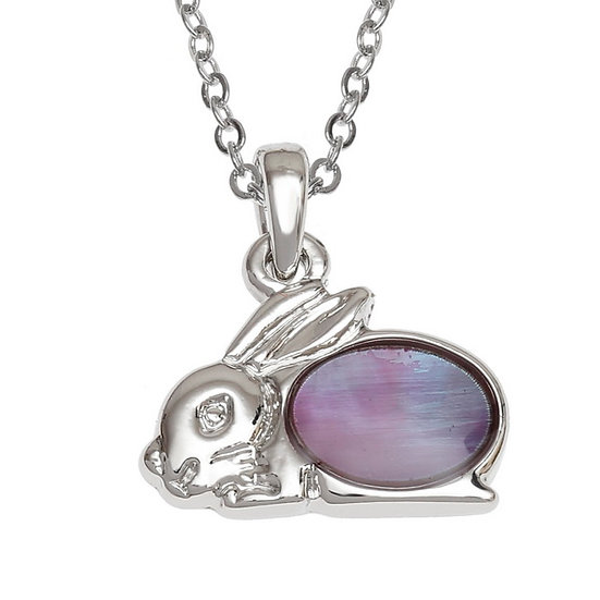 Purple Mother of Pearl Shell Rabbit Pendant