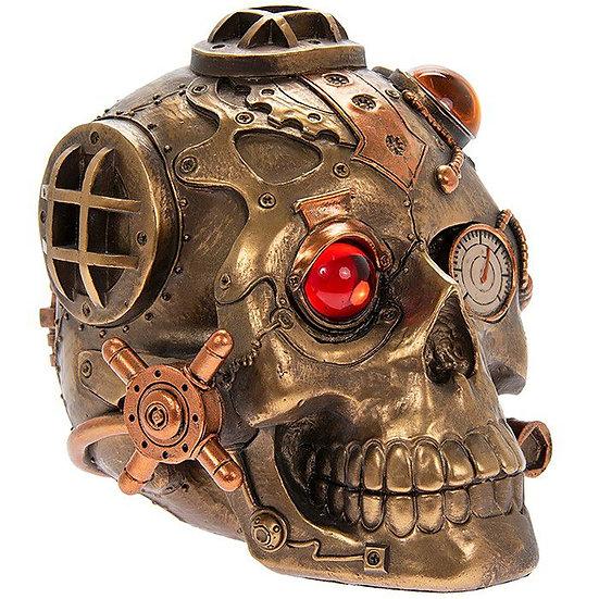 Steampunk Skull Bronzed Figure
