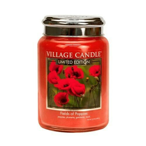 Village Candle Fields Of Poppies - 26oz Large Candle Jar
