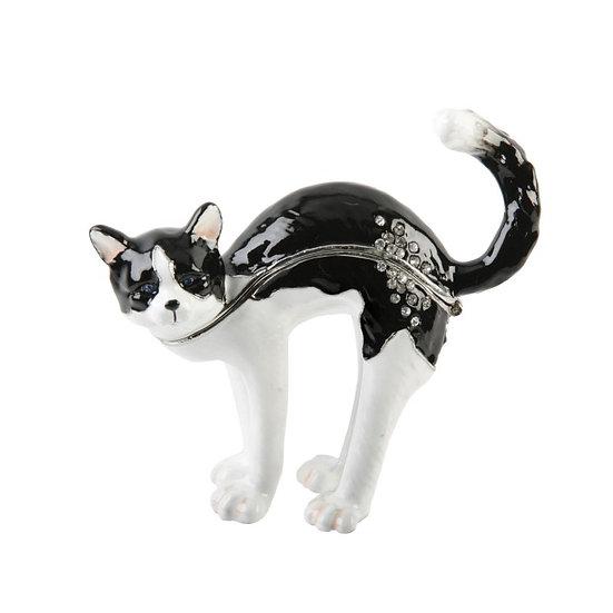 Black & White Stretching Cat Treasured Trinket