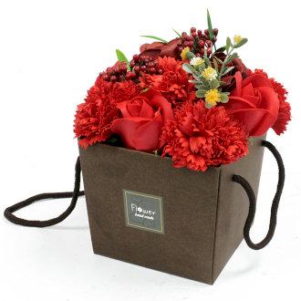 Red Rose & Carnation - Soap Flower Bouquet