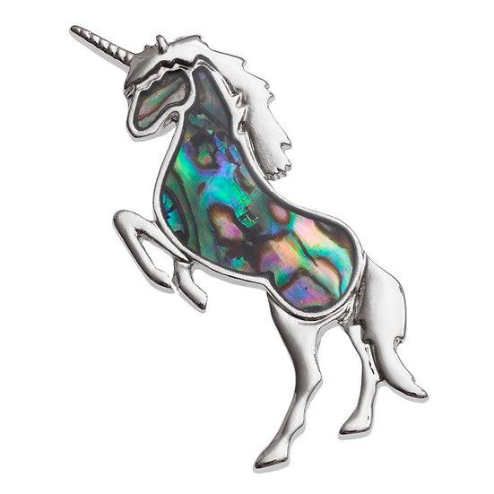 Paua Shell Unicorn Brooch