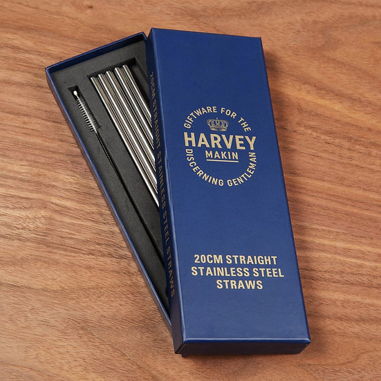 Straight Stainless Steel Silver Straws - Set of 6