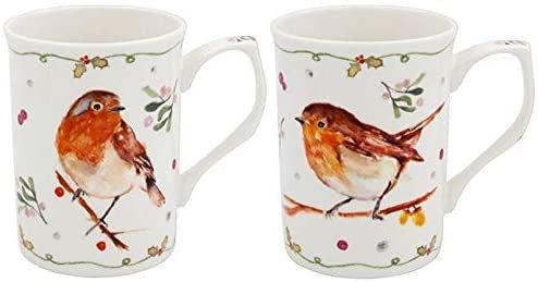 Winter Robins Set of 2 Mugs