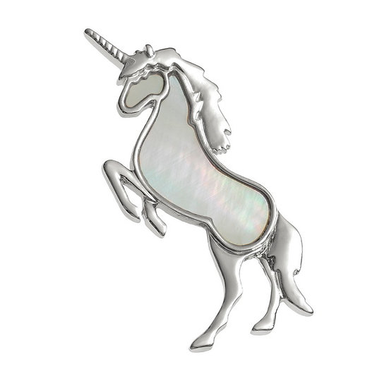 Mother of Pearl Shell Unicorn Brooch