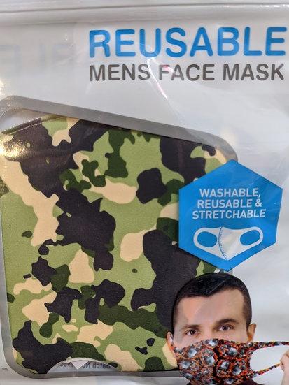 Mens Reusable Face Mask - Green Camo