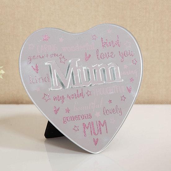 Mum Mirror Heart Plaque