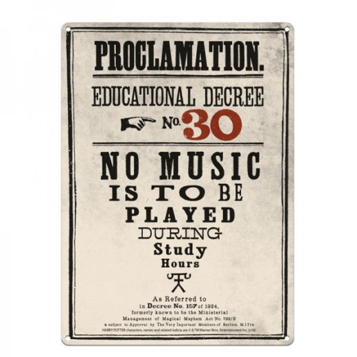 Harry Potter Proclamation No.30 Tin Sign Large