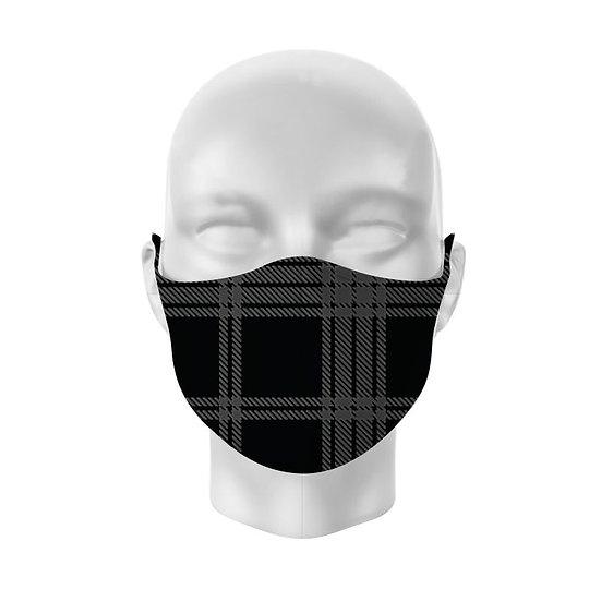 Black & Grey Tartan Reusable Face Mask - Large