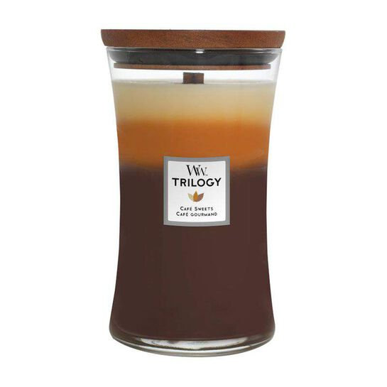 WoodWick Café Sweets Trilogy Large Hourglass Candle with Pluswick