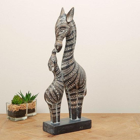 African Style Ornate Zebra Figurine - Mother & Foal