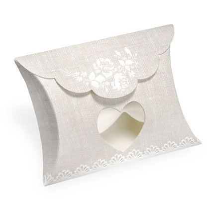 Rose Hessian Pillow Box with Heart Window