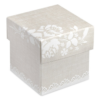 Rose Hessian Square box with Lid