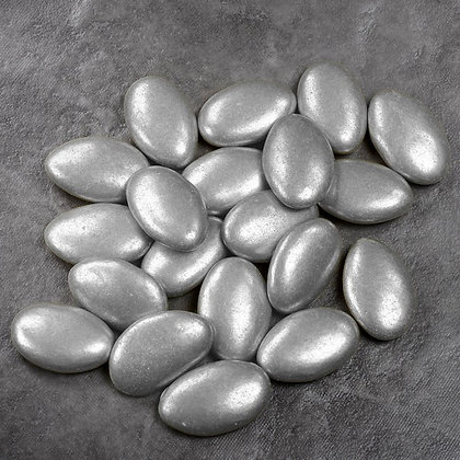 Chocolate Dragees Oval Metallic Silver 1Kg